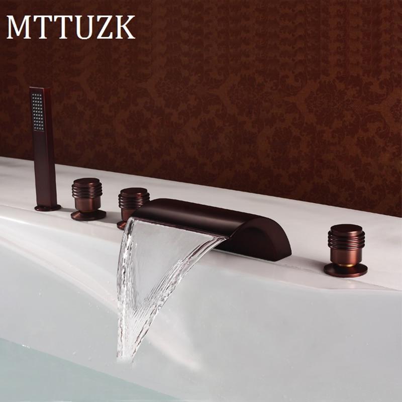 MTTUZK-صنبور حوض استحمام من البرونز مع شلال ، منتشر بالزيت ، دش يدوي (تصميم منحني) ، مجموعة صنبور حوض الاستحمام ذات 5 فتحات
