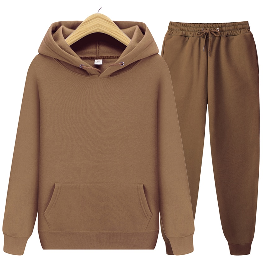 2020 new Men's ladies casual wear suit sportswear suit solid color pullover + pants suit autumn and winter fashion suit