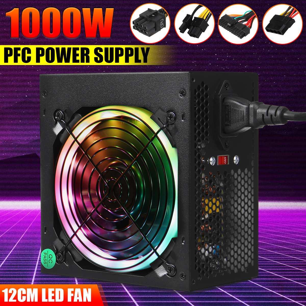 ماكس 1000W امدادات الطاقة 12 سنتيمتر متعدد الألوان LED مروحة السلبي PFC الصامتة مروحة ATX 24 دبوس 12V PC الكمبيوتر SATA الألعاب PC امدادات الطاقة