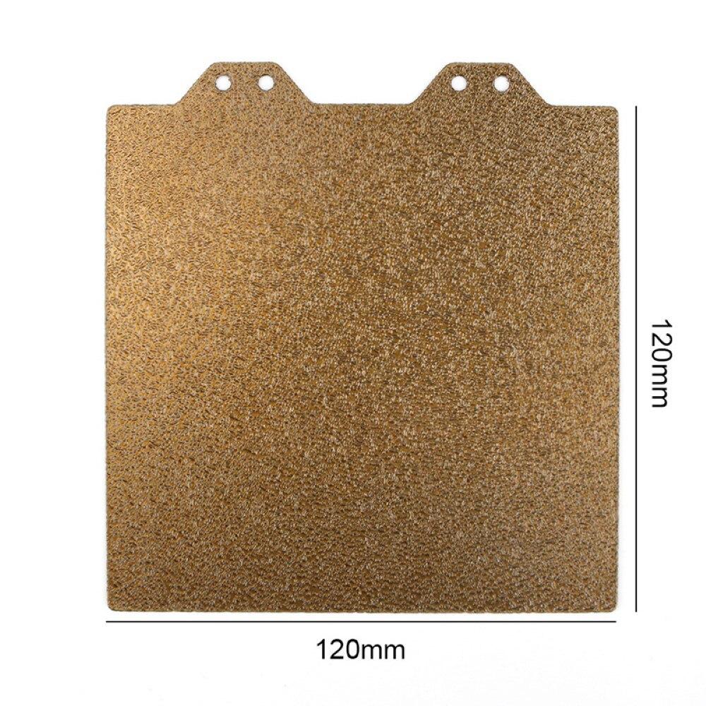مجموعة ملحقات طابعة ثلاثية الأبعاد 120x120 مللي متر من الذهب مزدوج الوجهين محكم بي مسحوق لوح فولاذي مع ملصق مغناطيسي B Side