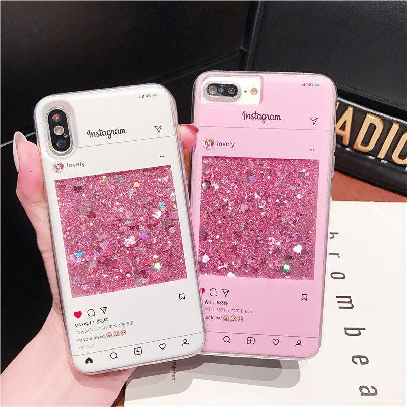 Funda para Samsung S20 Ultra S10 S9 S8 Plus Note 10 9 8, funda con arena movediza Instagram para iPhone 11 Pro, funda trasera con purpurina, accesorios