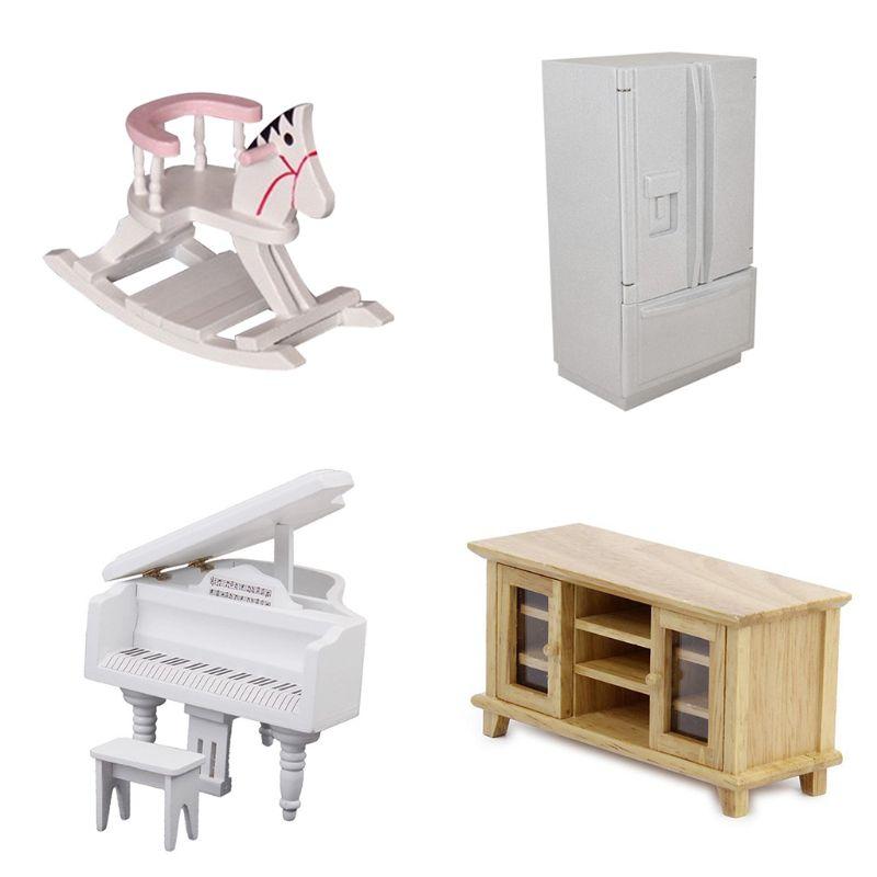 1:12 Dollhouse Miniature Mini Piano Cabinet Horse Dolls Living Room Decoration