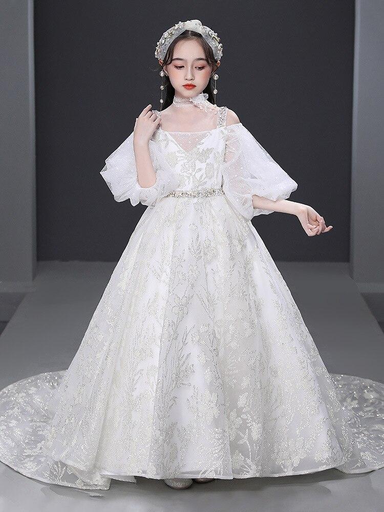 Vestido de lujo de flores blancas para Niña, Vestido de princesa con...