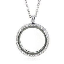 30pcs/lot 30mm Silver Round Crystal Magnetic Floating Locket Living Memory Locket For DIY Necklace