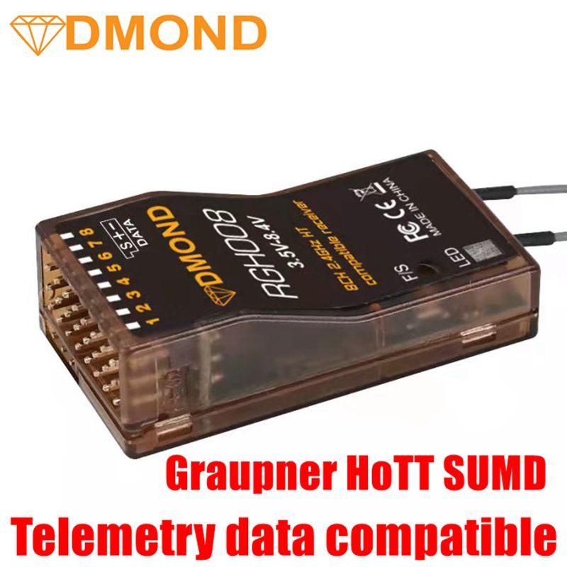 DMOND RGH008 8ch القياس Graupner HoTT + SUMD متوافق استقبال GR-12L GR-32L MZ-32 MZ-12 MZ-10 MC-28 MC-26