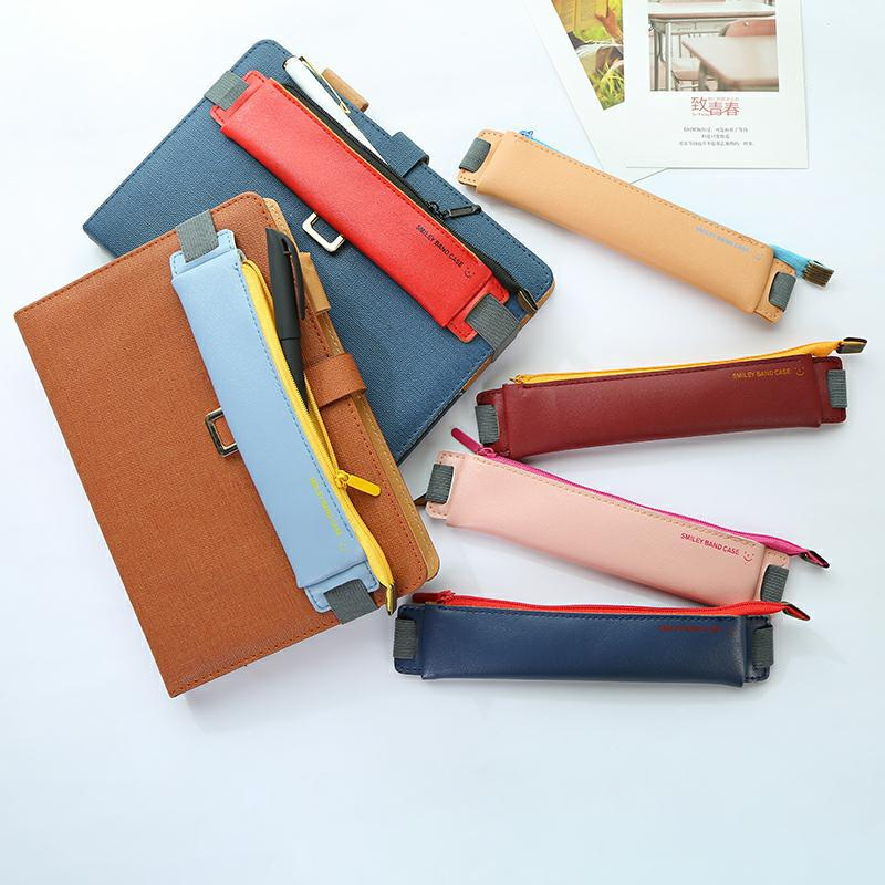 Luxury Pu Leather Elastic Buckle Pencil Case for Book Notebook Fashion Pen Bag School Pen Case for O