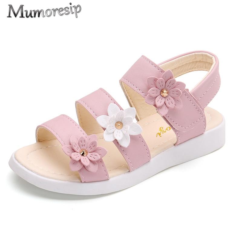 Children's Shoes Summer Style Children Sandals Girls Princess Beautiful Flower Shoes Kids Flat Sanda