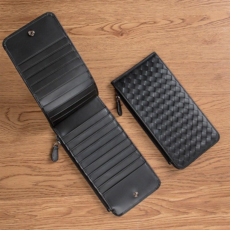 Kuh Leder Karte paket männer ultra-dünne mode große-kapazität anti-diebstahl pinsel MS einfache brieftasche lange multi karte slot BV weben