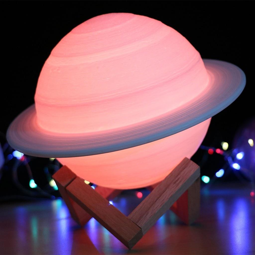 Colorido LED 3D impresión Luz de noche de luna lámpara de Saturno Luz de noche con soporte remoto al aire libre fiesta jardín decoración ornamento de luces