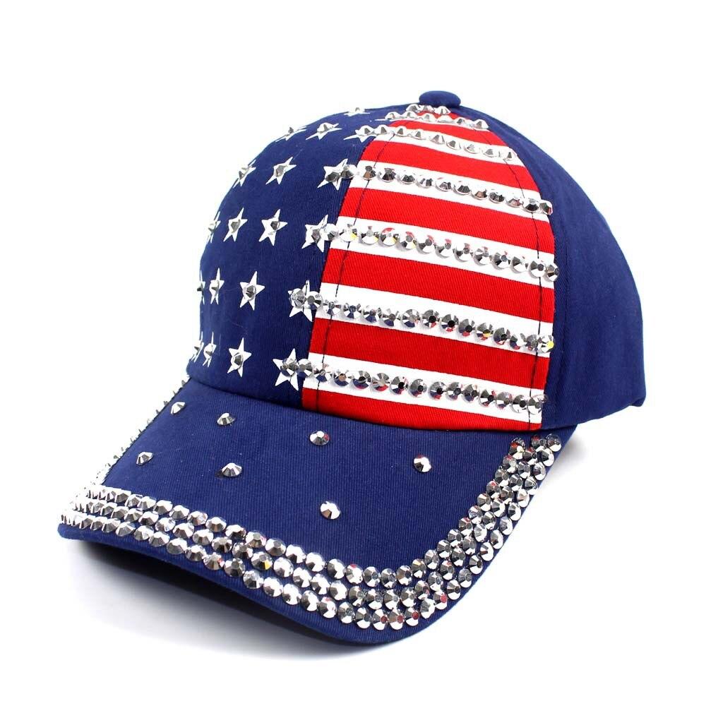 Gorra de béisbol de bandera americana de estrellas de rayas de diamantes de imitación con broche para hombres y mujeres, rojo marino y negro