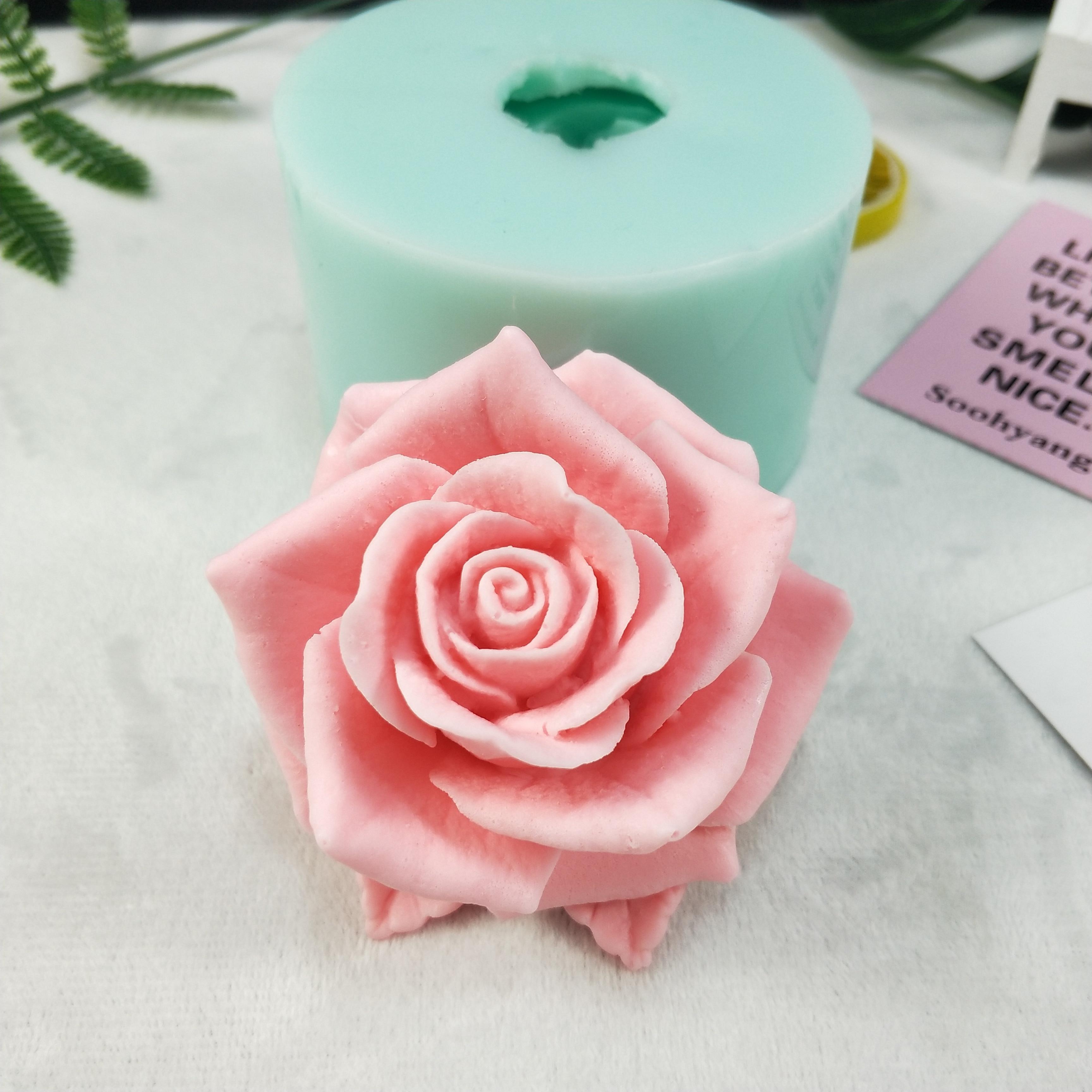 3D hermosa flor Rosa silicona molde ramo de rosas jabón moldes arcilla resina yeso Chocolate vela molde