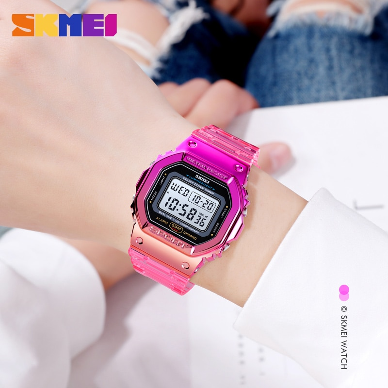 SKMEI Sport Cool Watches For Girls Fashion Transparent Strap Women's Watches Shock Resistance Laides Wristwatch Electronic Clock enlarge