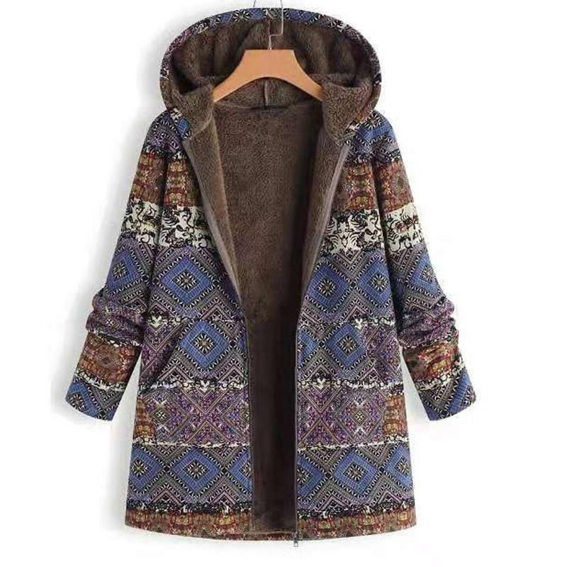 معطف نسائي سميك ، جاكيت بنمط عرقي ، بلوزات غير رسمية بأكمام طويلة مع سحاب وجيب ، معطف مطبوع متعدد الألوان