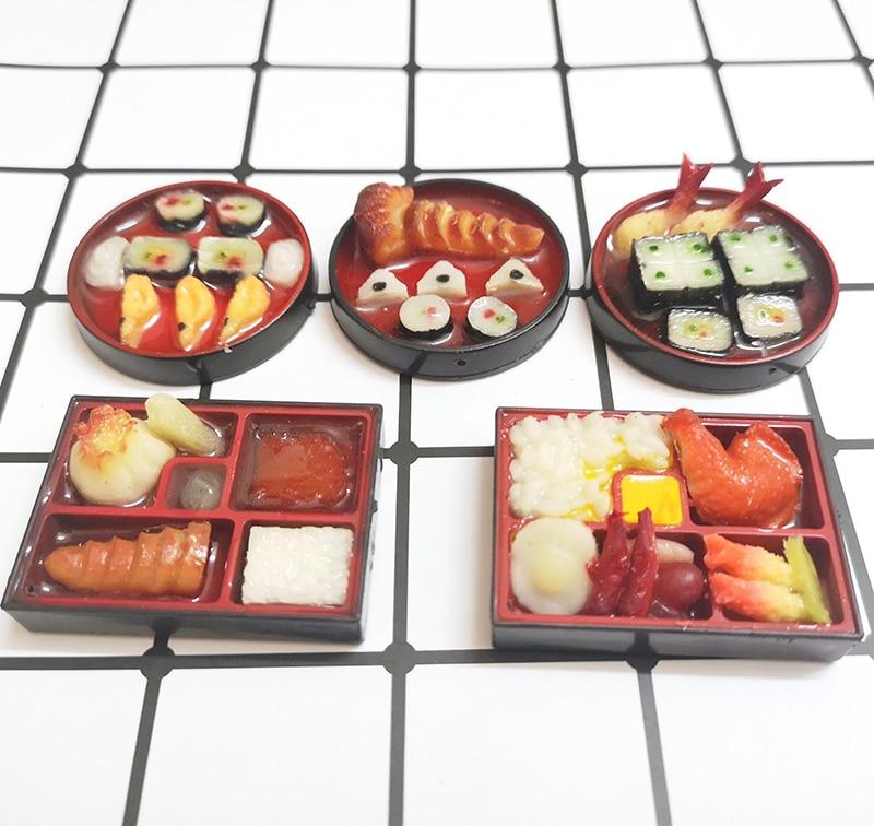2 uds escala 16 casa de muñecas miniatura Jampanese Sushi arroz Roll Play casa de muñecas accesorios muebles juguete
