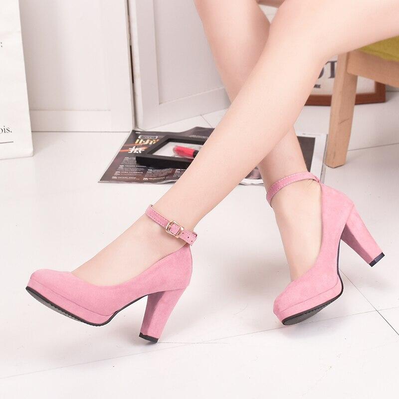 High heels new fashion wild retro simple elegant womens shoes shallow mouth round head temperament non-slip Mary Jane high heel