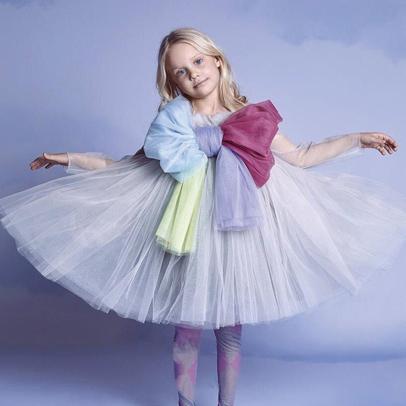 متوفر 2021 الربيع الصيف موضة جديدة طباعة فستان الأطفال القوس فستان الأميرة طفلة ماركة فستان شبكي ملابس الأطفال wz26