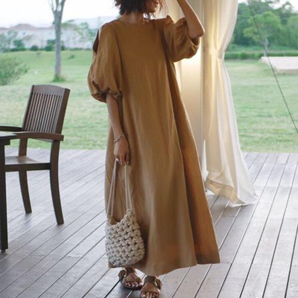 Solid Puff Sleeve Dress Women Korean Spring Summer 3/4 Sleeve A-Line Plain Loose Causal Ankle Length Pullover Long Dress Khaki