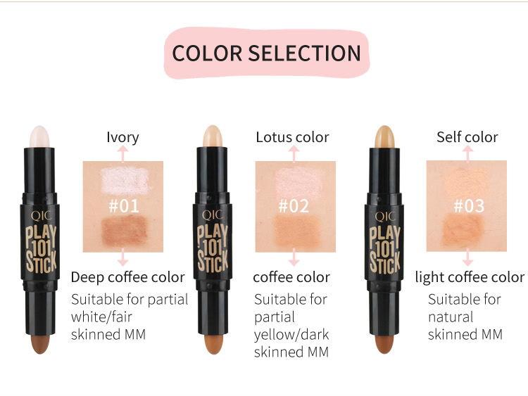 new1pc 3D Highlight Stick Double Head Face Highlighter Makeup Bronzer Shimmer Stick Blemish Brighten