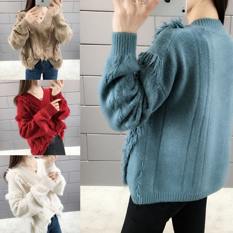 Women Long Sleeve V-neck Knitted Sweater Sweet Style Solid Color Tassel Pullover enlarge
