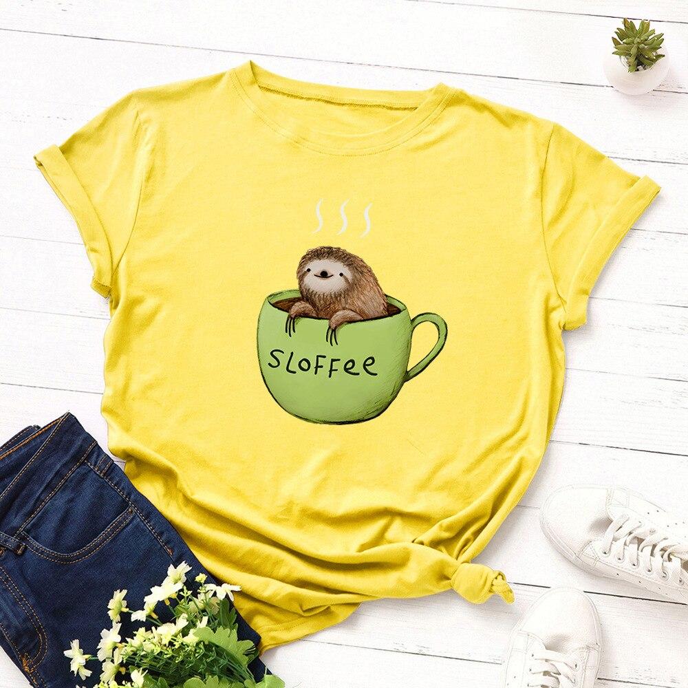 S-5XL t camisa feminina 100% algodão engraçado copo t camisa o pescoço mangas curtas dos desenhos animados animal bonito sloth padrão feminino t camisa