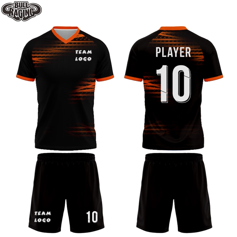 black sports jersey custom design digital sublimation all over printing soccer football outfield jersey uniform