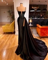 sexy black pleat satin long mermaid prom dress 2021 evening gala dress formal party gown wedding occasion dress