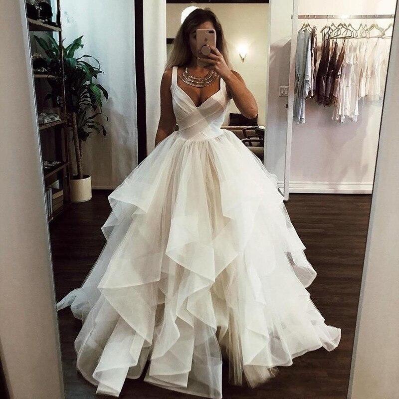 New Wedding Dress 2020 A-Line V-Neck White Ivory Princess Gowns Vestidos de noiva Boho Bride vestido