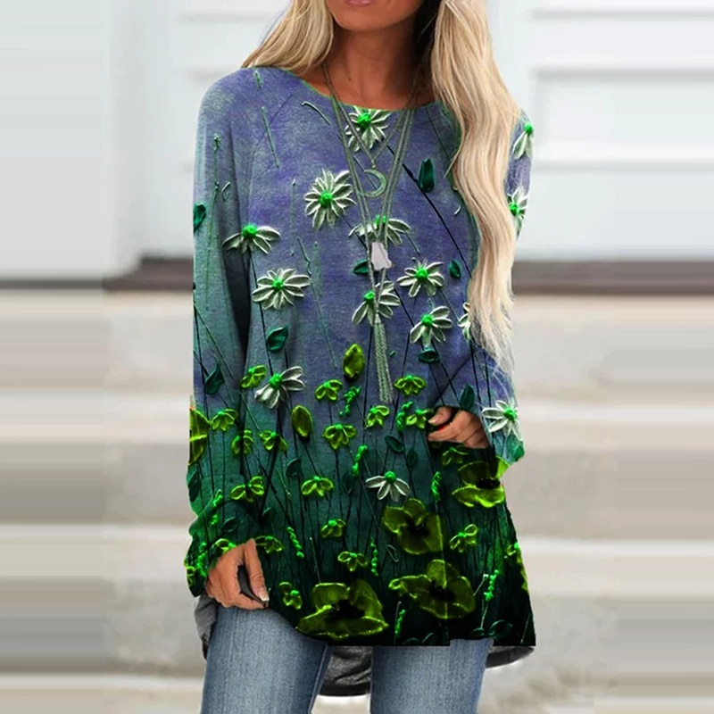 2021 Spring Gradient Floral Print Women Blouse Shirt Long Sleeves Tops Casual Plus Size Loose Streetwear Elegant Party Pullover