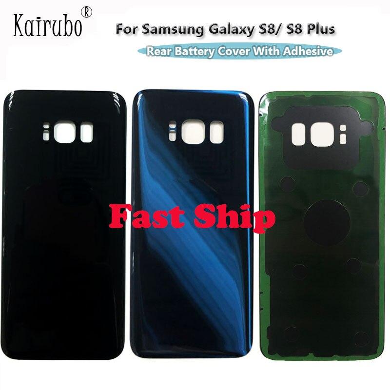 Trasera reemplazo de vidrio de la cubierta de la batería para Samsung Galaxy S8 / S8 + Plus + carcasa de vidrio puerta de atrás + adhesivo negro plata oro