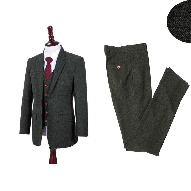 بدلة تويد خضراء كلاسيكية للرجال من 3 قطع ، بدلة تويد ريترو مع بنطلون ، لحفلات الزفاف والأعمال