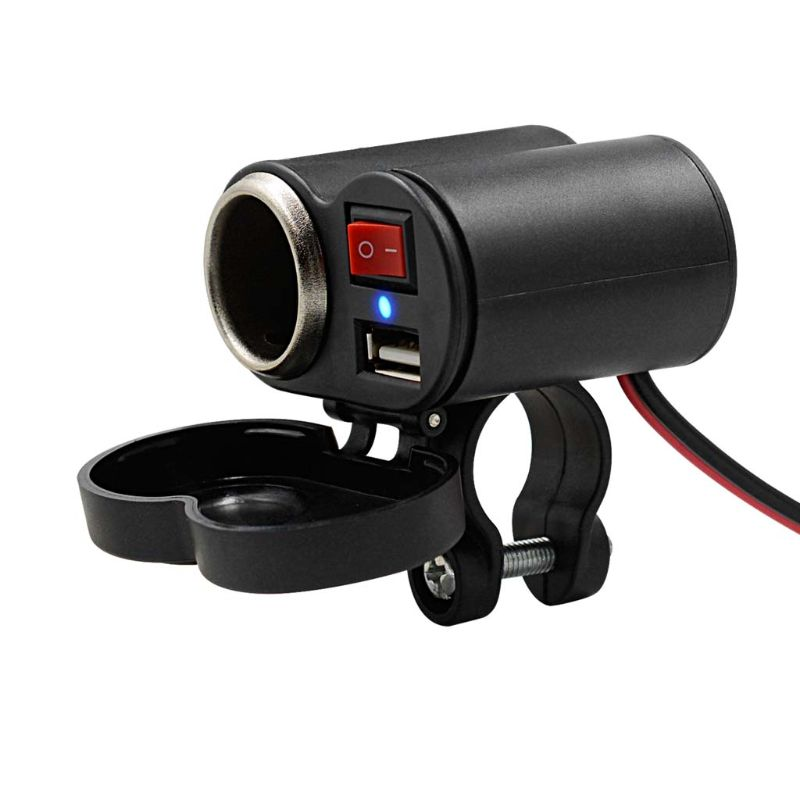 Cargador USB para manillar de motocicleta de 12V, impermeable, encendedor, interruptor N84A