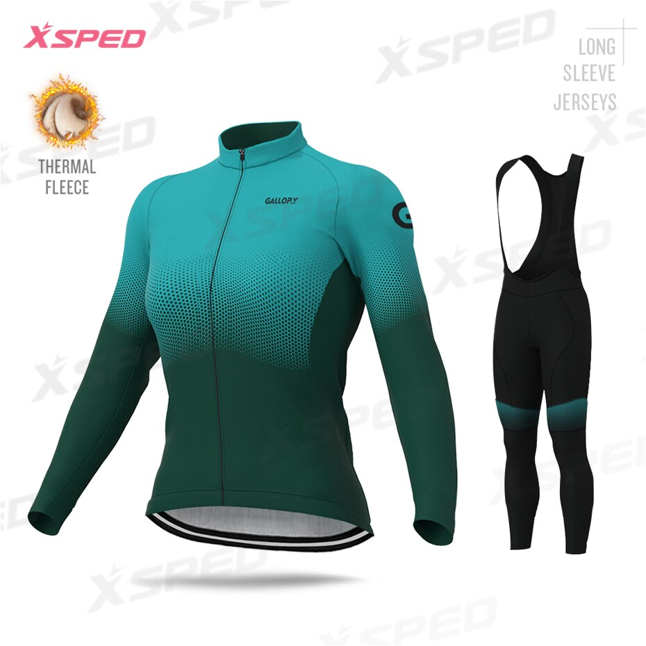 Mulheres roupas de ciclismo mtb jaqueta kit inverno térmica velo conjunto jérsei senhora manga longa elegante simplicidade feminino ciclo roupas