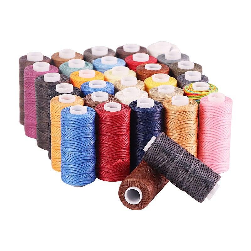 Hilo encerado lisos con rosca 150d 50M, cordón de cera para costura, herramienta de artesanía portátil para manualidades DIY, productos de cuero, hilo encerado
