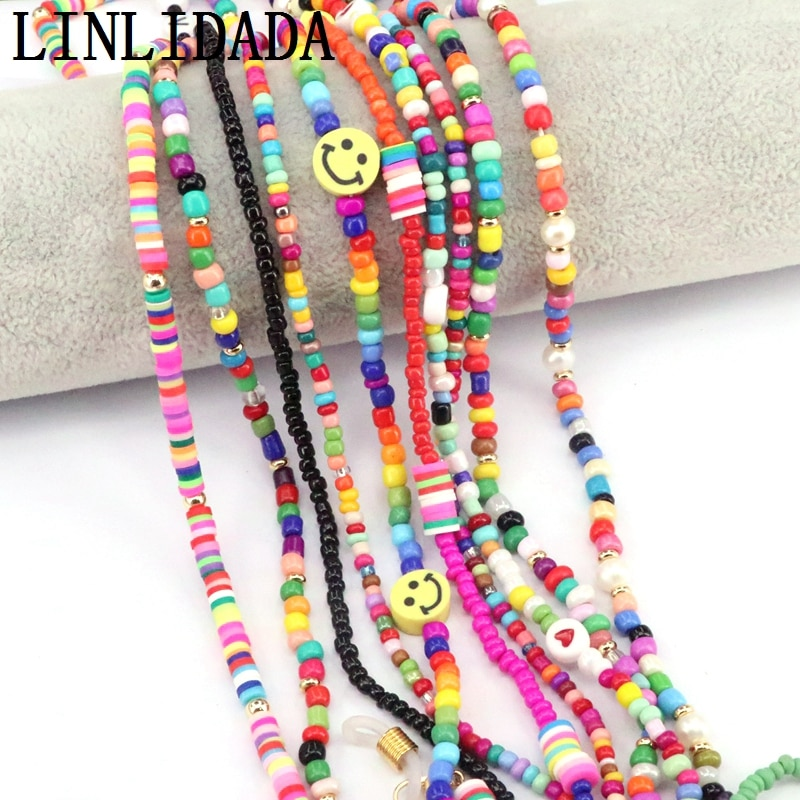5Pcs Fashion Womens Beads Chain Sunglasses Rainbow Chains Necklace Reading Glasses Cord Holder Neck