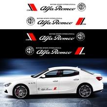 Décalcomanies de Logo de voiture 2 pièces/ensemble, autocollants de carrosserie de style, autocollants de côté de porte de voiture, accessoires à longues rayures pour litalie ALFA ROMEO 147 159 156
