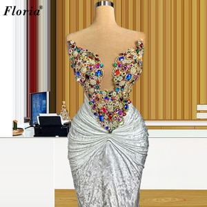 Elegant Luxury Crystals Cocktail Dresses Long Vintage Prom Dresses For Women Wedding Party Gowns Formal Dress Vestido De Fiesta
