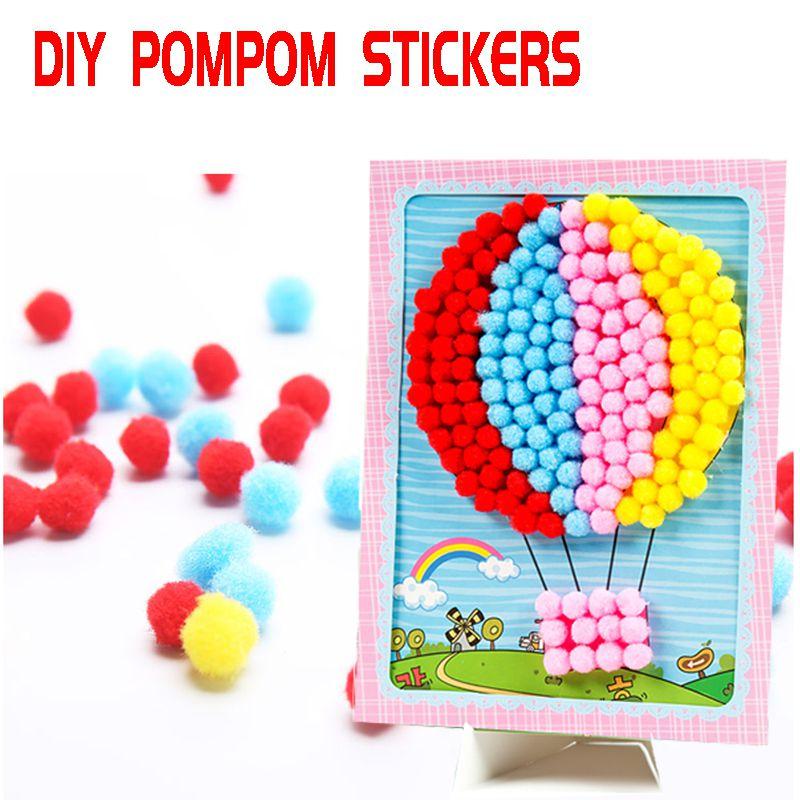 Детские самодельные наклейки с помпонами игрушки ручной работы Креативные Игрушки