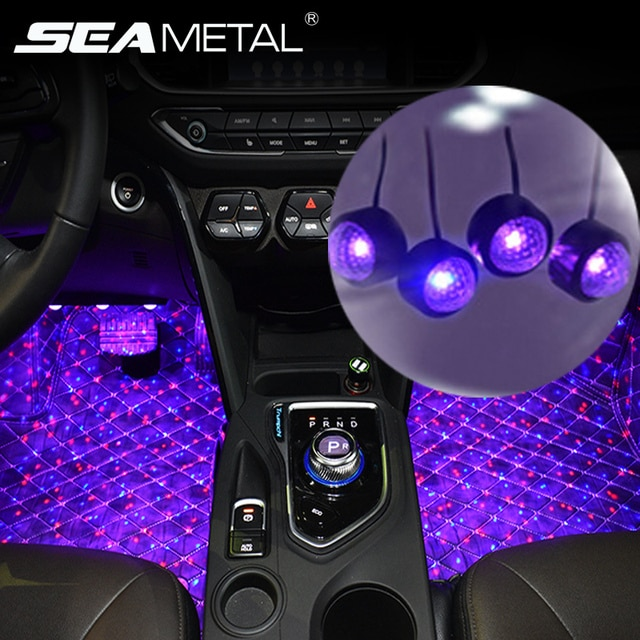 12V Car Decoration Ambient Light Colorful RGB Interior Foot Lights Universal Auto USB Atmosphere Lamp Car Interior Accessories