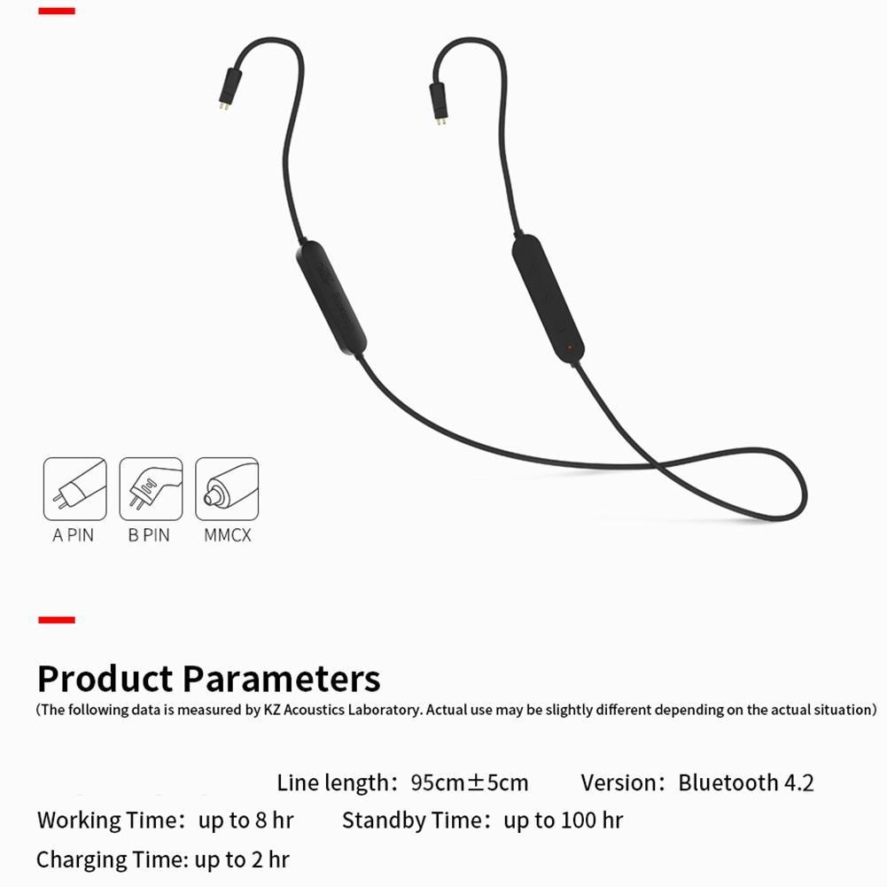 Auriculares portátiles KZ 2Pin/MMCX Cable Bluetooth inalámbrico impermeable para KZ-ZS5/ZS6/ZSA/ZST/zsnn /ZS10