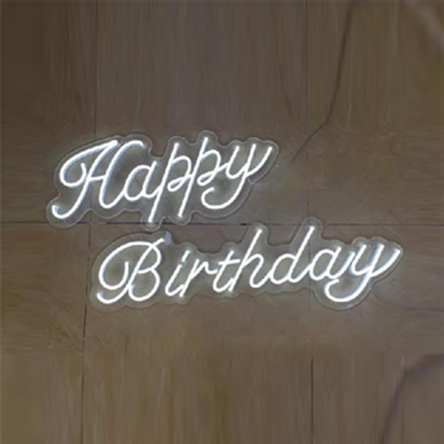 Happy Birthday Digital Neon Light Lamp Bulbs LED Letter Sign Lights Transparent Acrylic Background Custom Decor Party Wedding enlarge