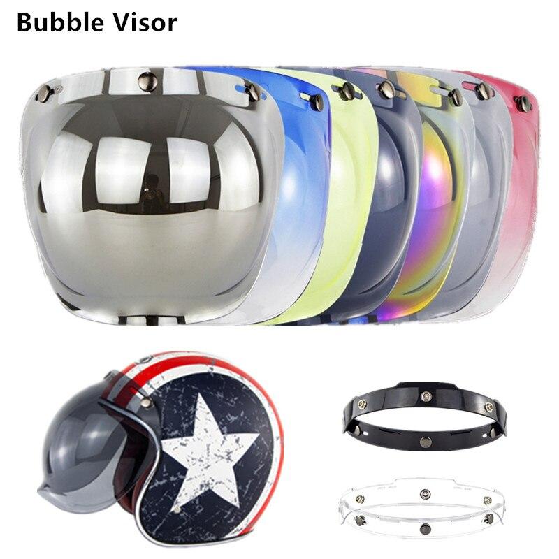 Pára-brisa bolha lente viseiras anti-uv óculos pc lente à prova de vento meia face capetas para moto rcycle capacete bv01