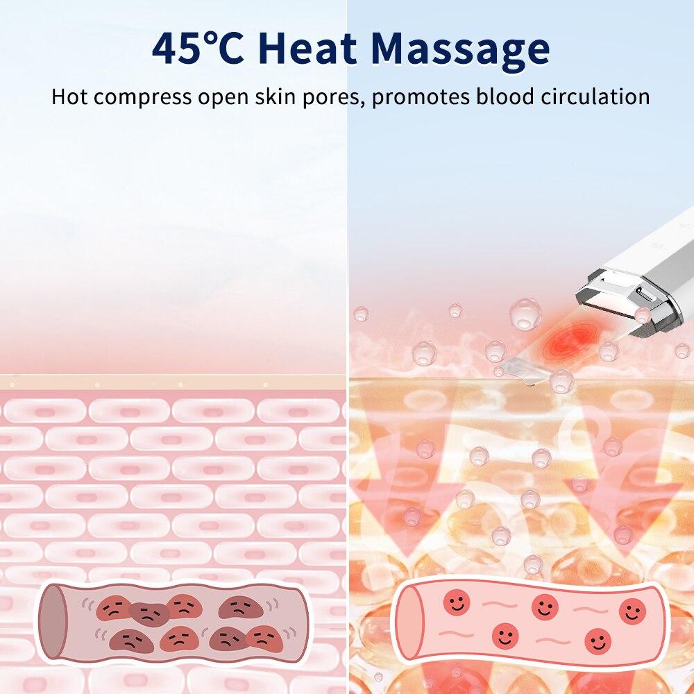 ANLAN Waterproof Ultrasonic Skin Scrubber Ion Deep Face Cleaning   Heat Facial Lifting Peeling Shovel Acne Blackhead Remover enlarge