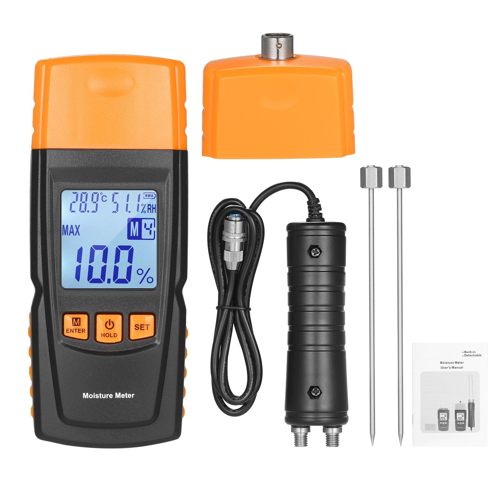 KKmoon 3-in-1 الرقمية الخشب مقياس الرطوبة الحطب محتوى الماء محلل درجة الحرارة المحيطة + الرطوبة + اختبار الرطوبة الخشب