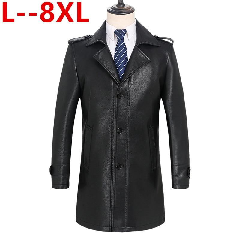 كبير حجم 8XL 6XL 5XL 4XL 2019 جديد وصول الخريف و الشتاء جلد حقيقي thicked خندق معطف الرجال ، سترة جلدية الرجال ، زائد حجم