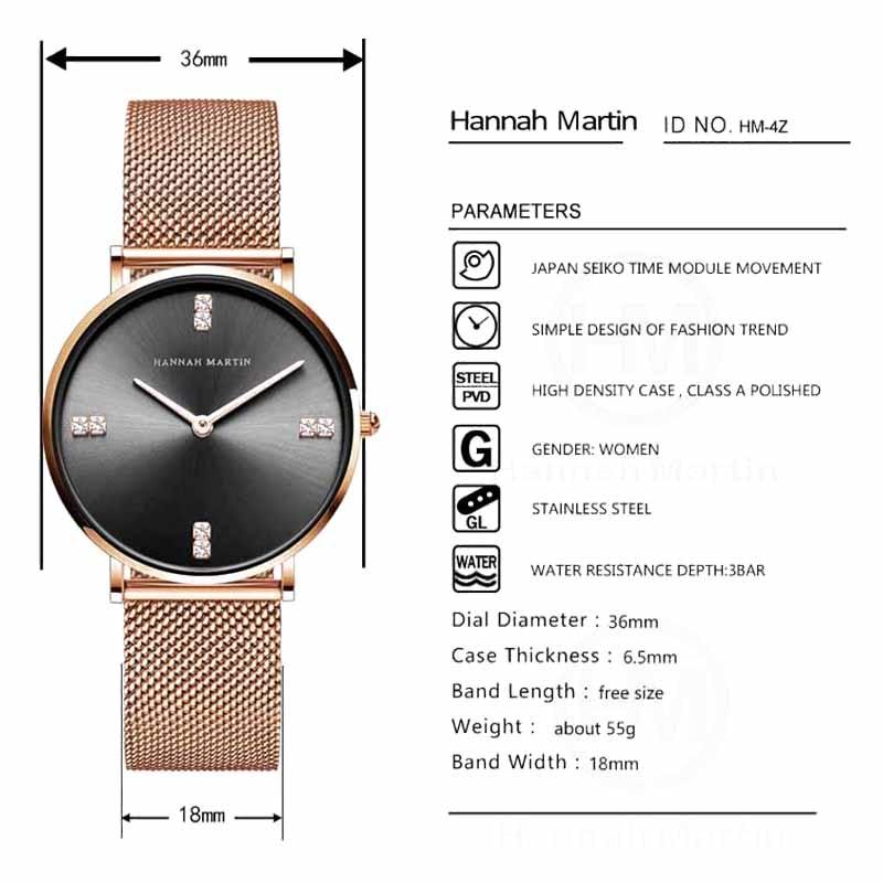 Hannah Martin Luxury Brand Quartz Steel Mesh Ladies Watch Diamond Women Watches Fashion Business Wristwatch Women Reloj Mujer enlarge