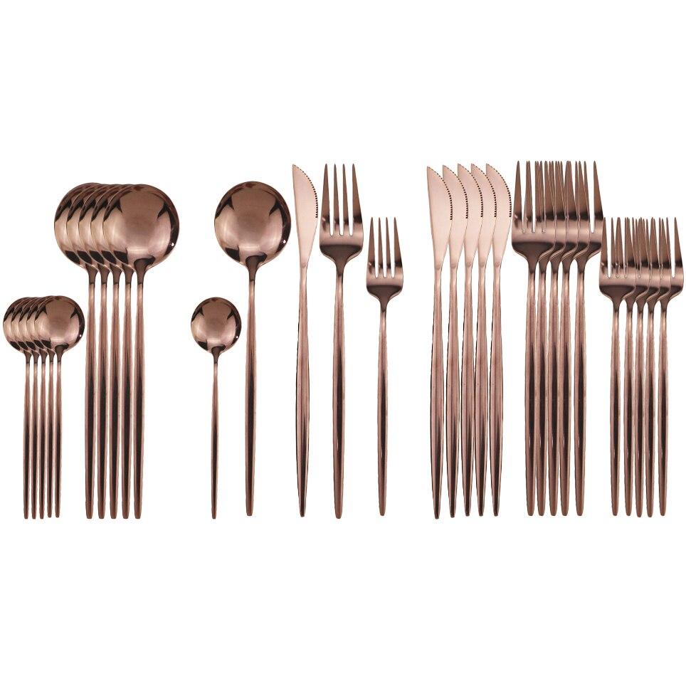 Conjunto de talheres rosa 304 aço inoxidável, 30 peças, aparelho de jantar, louças de jantar, conjunto de jantar, faca, garfo, colher, garfo, utensílios de talheres