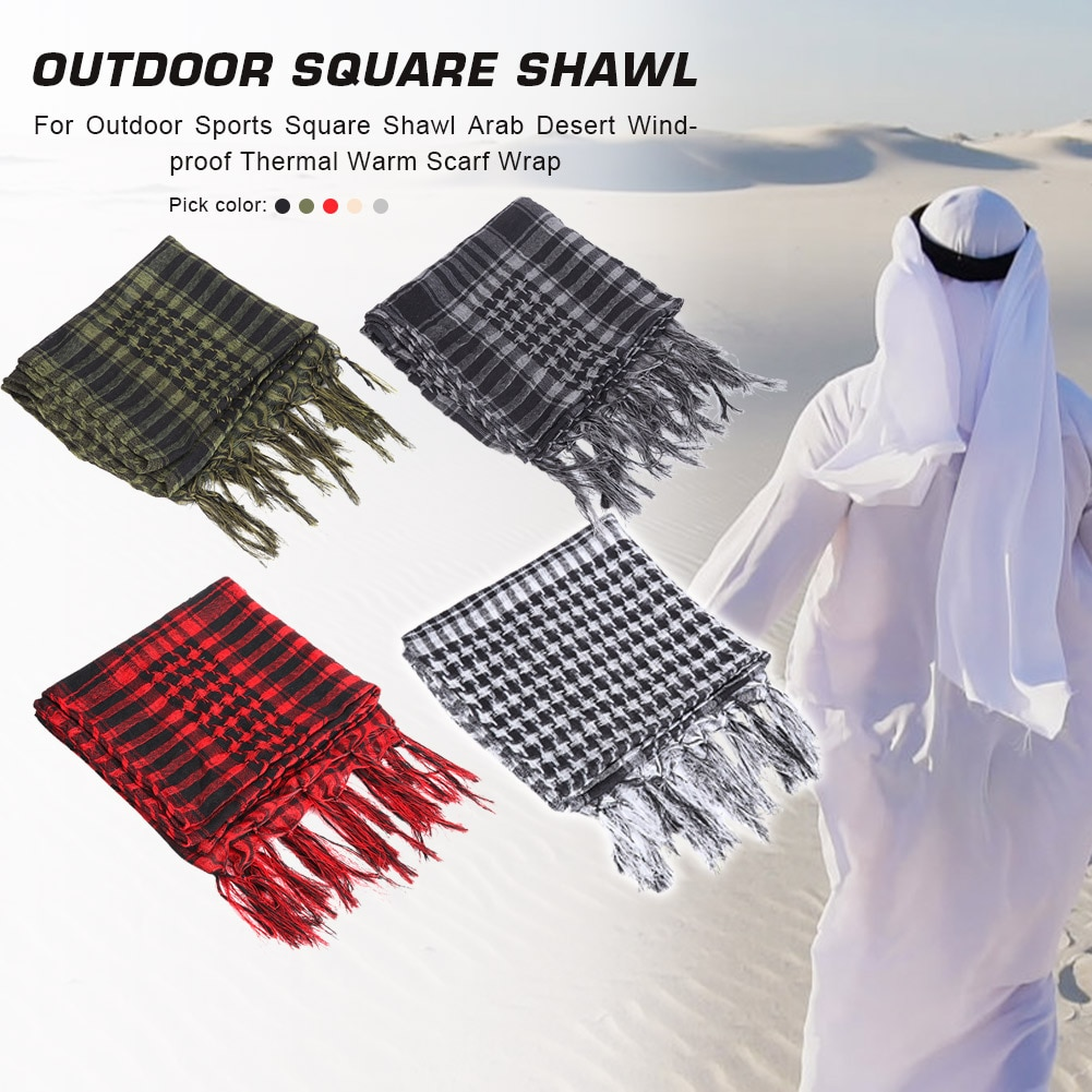Windproof Sand-proof Wraps Unisex Thermal Warm Hiking Scarves Plaid Grain Square Shawl Arab for Outd