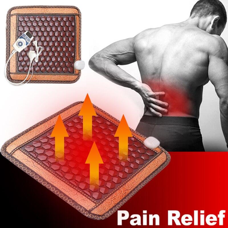 Инфракрасный нагревательный коврик Натуральный нефритовый Турмалин Массажная подушка для спины, живота, талии, облегчение боли в мышцах, подушка для сиденья с подогревом