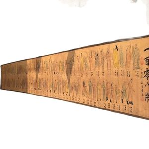 China Ancient Picture Paper Long Scroll Painting Character