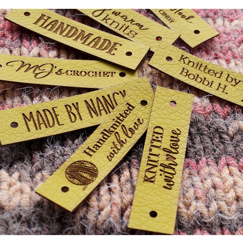 30pcs Leather labels for handmade items Customize knitting clothes tags for rivets Sew in crochet garment label DIY Accessories yuki araki sew sweet handmade clothes for girls